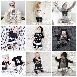 Wholesale Fedex DHL Free Kids Ins Suits T Shirts Pants Baby Ins Tops Trousers Summer Ins Outfits Fashion Shirts Harem Pants Ins Baby Clothing set Z412
