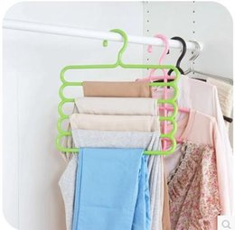 Wholesale 1PCS multilayer S type pants shelf multi functional plastic hanging pants hanger trousers hanging storage rack pants shelf wardrobe