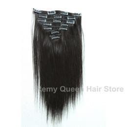 2016 extensión del pelo humano clip de la cabeza llena Pinzas brasileñas libres de Remy de la Virgen del grado del envío 7A en las extensiones 7pcs / extensión del pelo humano clip de la cabeza llena limpiar