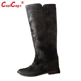 Longue en cuir femmes boot à vendre-vraies femmes véritable plat en cuir sur des bottes au genou mode botas d'hiver à long démarrage Feminina chaussures de marque de chaussures de taille R7369 34-39
