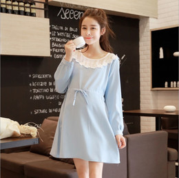 New Fashion Pregnancy Woman Autumn Dress Maternity Skirt Pregnant Clothing Lace Chiffon Sky Blue Skirt Long Sleeve