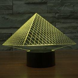 2017 Pyramids Luxor new style 3D Optical Lamp Night Light 9 LEDs Night Light DC 5V Colorful 3D Lamp
