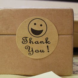 100pcs lot Smiley Thank You Stickers Kraft Paper Adhesive Label For Baking Gift Packaging Bag Seal Round Sticker