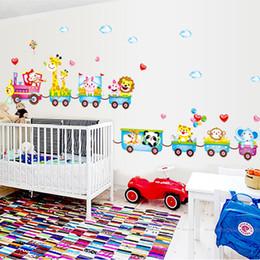 Wholesale Cartoon Train Wall Sticker - Cartoon Train Animal Vinyl Removable Decals for Kids Nursery Bedroom Child Living Room Bathroom Decor Mural PVC Wall Sticker Art