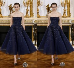 Wholesale Nave Blue New Berry Prom Dresses Newest Sequins Appliques A Line Red Carpet Dresses Evening Wear Back Zipper Organza Party Dress