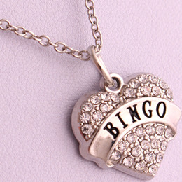 New Arrival Hot Selling rhodium plated zinc studded with sparkling crystals BINGO heart pendant link chain necklace