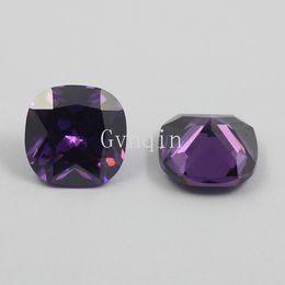 free shipping 100pcs lot cubic zirconia purple square cushion cut loose amethyst gem stones