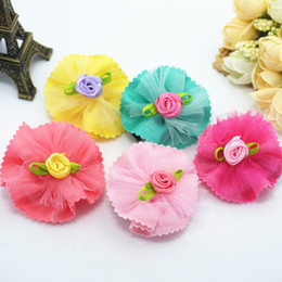 30pcs The new pet dog Rhinestone Flower Petals hairpin mesh cat dog Spaniel clip jewelry headdress