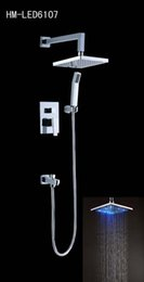 brass led in-wall concealed square rain shower set,rainfall shower set 160313#