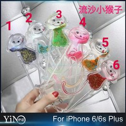 Wholesale 2016 Hot Sale Fresh Color Funny Monkey Moving Glitter Quicksand Liquid Mobile Phone Case Cover For iPhone S plus