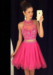 2016 New Fuchsia Two Pieces Tulle Homecoming Dresses Beaded Short Party Cocktail Prom Dresses