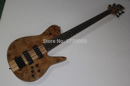 Promotion guitare par Custom Shop Natural Wood Burl One Piece Neck à travers EMG Pickups 5 cordes Fodera Butterfly 5 cordes basse basse électrique