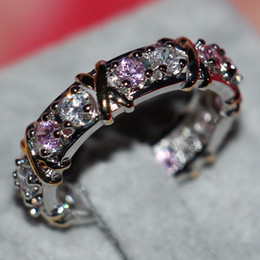 Size 5-11 Brand New fashion jewelry 925 sterling silver pink sapphire Simulated Diamond Wedding Engagement Band Rings for Women Love GIFT