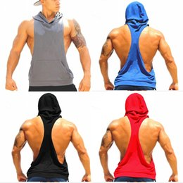 2017 tops sport homme sans manches Hommes Vest Hoodies Cottone Stringer Hoodies en plein air Bodybuilding sans manches Sport Sweat-shirt pour hommes Gym Fitness Tanks Livraison gratuite MY9022 bon marché tops sport homme sans manches