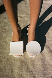 Wholesale 2016 Jacquemus Rond Carré Slingback Sandal for Women Slingback Sandal white real leather shoes block heel special style summer holiday shoes