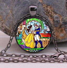 Wholesale Beauty and the Beast necklace Flowers Rose jewelry Cothic Glass Photo Cabochon Necklace pendant Jewellery Gifts