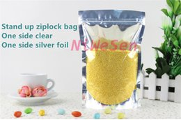 9x14cm - 18x26cm,200 x Reclosable Stand up translucent aluminium zipLock bags,Front clear Silvery plated foil plastic pouch zipper clip seal