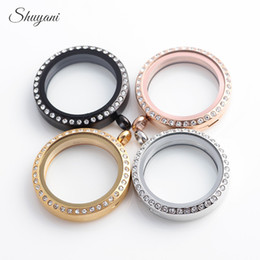 Stainless Steel Round Locket Pendants 30mm Magnetic Living Memory Locket Pendant without Chain Mix 4 Colors