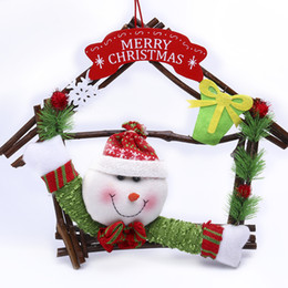 2016 new year Christmas Wreath Christmas wood house Hang cotton doll multi color English letter brand 30cm high lovely romantic Christmas de