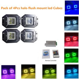 Wholesale 4pcs quot Flush Mount Fog Lights with RGB Halo Ring by Remote Controller Flash Colors Led Flush Mount Led Pods Truck Headlight Boat ATV SUV