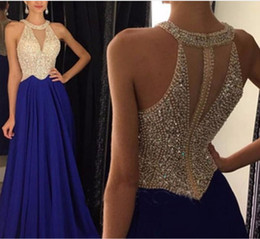 Wholesale Satin Bow Corset - 2016 Navy Blue Halter Prom Dresses Sexy Sheer Corset Long Party Backless Prom Dress With Crystal