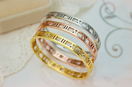 Fashion Roman Numberal Bangle Bracelet Cuff Bracelets for Women 18K Rose Gold Bangle Stainless Steel Bangles Jewelry Wholesale