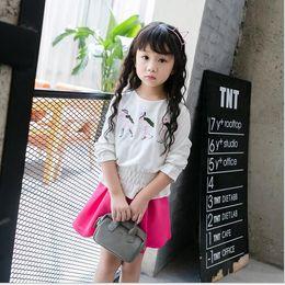 2016 Children 2pcs Set Kids Suit Outfits baby girls autumn long sleeve tops T shirts+Kids skirt Children Clothes baby Kids dress sets
