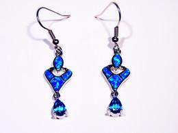 Wholesale & Retail Fashion Blue Fine Fire Opal Earrings 925 Silver Plated Jewelry For Women EJL1631012