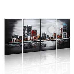 Wholesale Large Oil Painting Modern Abstract Art Panels Night Moon Cityscape Painting with Frame Home Decor x60cmx4pcs