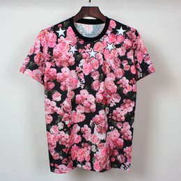 Men's Fashion Style 2016 New Rose wreath stars embroidered Casual short-sleeved men t-shirt brand Men t-shirt cotton clothing