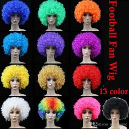Wholesale Party wigs Cheerleaders wig fans Rainbow Afro Clown Costume Football Fan Wig Hair Halloween Cosplay Wigs Or Football Fan Fun