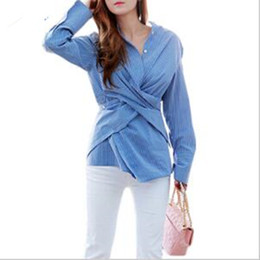 Wholesale 2016 Women Autumn Blouse Blue Stripe Full Sleeve Tops Striped with Sashes Irregular Lady Office Elegant Work Wear Clothing Shirt