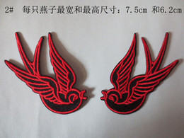 RED Swallow B Embroidery Polyester Patches for Jacket Back Motorcycle Biker DIY Cloth