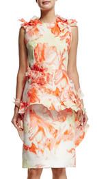 Novelty Print Women Sheath Dress Ruffles Sleeveless Dresses 040415
