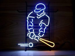 Wholesale NEW BASEBALL PLAYER LARGE LIGHT SIZE quot X15 quot GLASS NEON SIGN LIGHT BEER BAR PUB SIGN ARTS CRAFTS GIFTS SIGNS