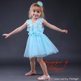 Wholesale Cheap Wholesale Summer Kids Clothes - Pettigirl Cheap Baby Girls Jacquard Pink and Blue Dress With Lace Princess Girl Clothes For Kids Party Dresses GD80905-27