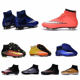 Wholesale Men Kids Soccer Boots Cleats Boys Mercurial Superfly CR7 FG TF Children Cheap Soccer Shoes Cristiano Ronaldo Youth Women Turf Football Boots