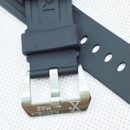 24MM 115MM 75MM FASHION BLACK SILICONE RUBBER SILVER SCREW-IN PRE-V BUCKLE BAND STRAP FOR PAM WATCH