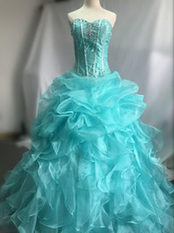 New Ball Gown Quinceanera Dresses 2016 with Organza Sequins Beaded Lace Up Sweet 16 Quinceanera Party Gowns Stock Size:2-16
