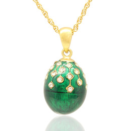 Hand crafted Enamel colors crystals Russian egg pendant necklace Faberge Egg Pendant Necklace for Easter day