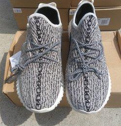 Wholesale Best Kanye West boost Shoes Sneakers For Men Women Black grey Oxford Tan Pirate Black Keychain Socks Bag Receipt Boxes