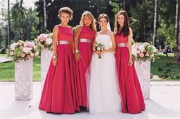 Wholesale Cheap Custom Made Bridemaids Dress - Magenta Beach Formal Bridesmaids Dresses 2016 A Line Bateau Long Satin Simple Cheap Maternity Bridemaids Dresses Prom Party Gowns Plus Size