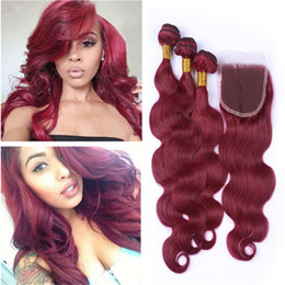 New Arrival Pure Color #99j Wine Red Hair Weaves With Lace Closure 4Pcs Lot 9A Malaysian Burgundy Body Wave Human Hair