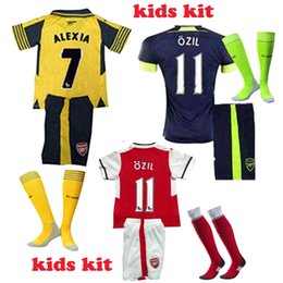 Wholesale 2016 Youth Kid Arsenal Soccer Sets Full Kits OZIL WILSHERE RAMSEY ALEXIS GIROUD Welbeck Gunners Football Jersey Full Set With Socks