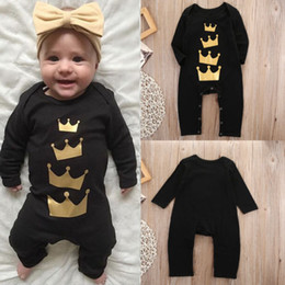 Wholesale 2016 new arrival bodysuit Cotton Newborn Baby Girl Boy Long Jumpsuit black queen imperial crown funny logo printed Romper Outfits Clothes