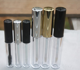 Wholesale 3ML Empty Small Lip Gloss Tube Mascara Tube Black Silver Golden Cap Cover Lipstick Container Bottle Lip Balm Brush