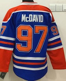 Wholesale Stitched Edmonton Oiler Connor McDavid Wayne Gretzk Blank HALL PAAJAR Blue Orange White Ice Hockey Jerseys Ice Mix Order