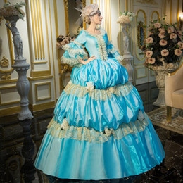 100%real blue lace flower bubble ball gown Medieval Renaissance Gown Victorian Antoinette princess court ball gown Belle Ball