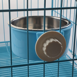 Wholesale Portable Pet Feeder Dog Cat Hanging Bowl Fixed Water Dish Drink Bottle Travel Feeding Bowls Plastic Dog Food Container Candy Color C
