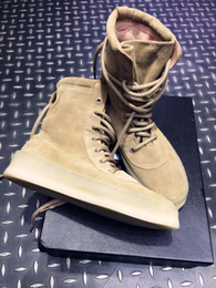 Wholesale Big size New Boot Kanye West Season Crepe Boot YEZ Brown High Cut Leather with Original box Men women boot
